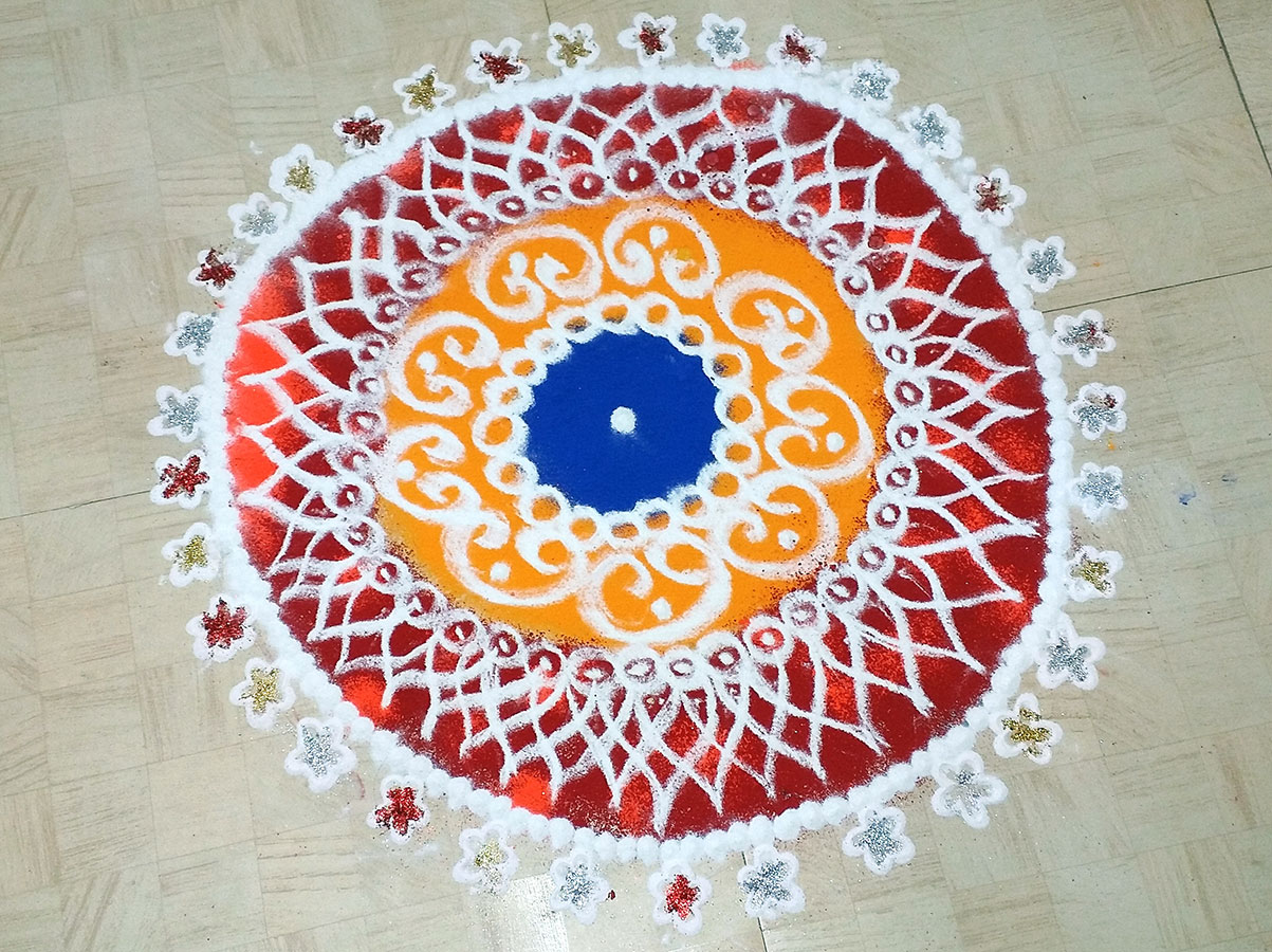 Lovely rangoli done by one of the women (November, 2016)