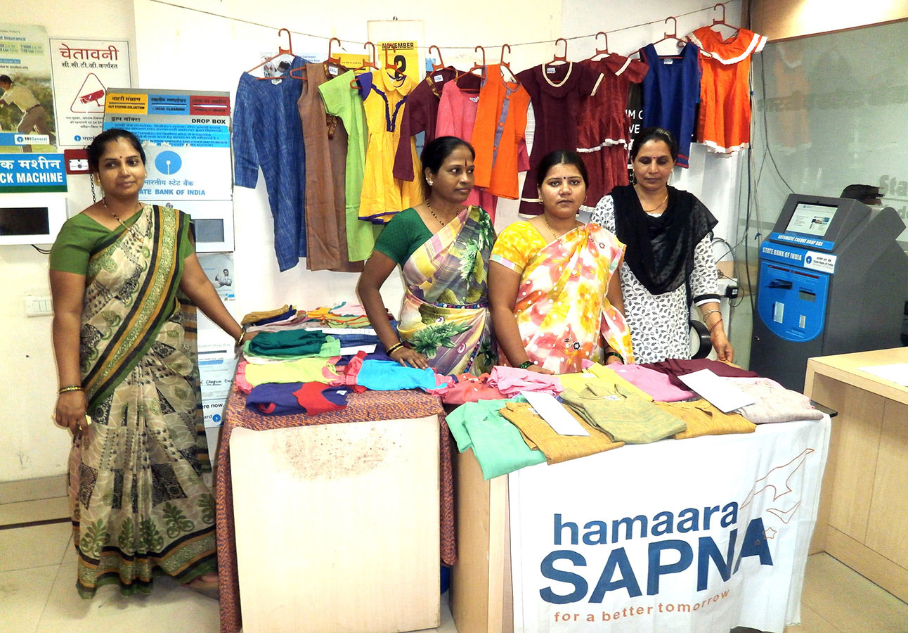 An array of clours and patterns on display at the stall of Hamaara Sapna - SBI Exhibition (November, 2015)