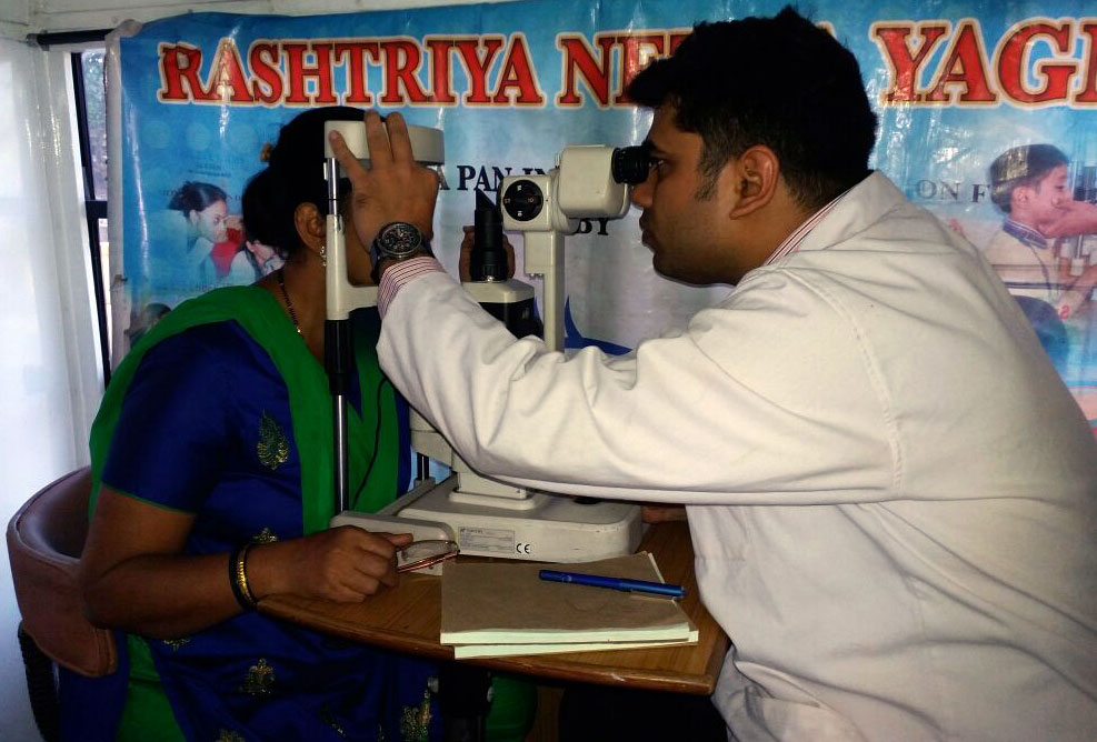 Vision Foundation of India getting eyes tested of women (January, 2017)