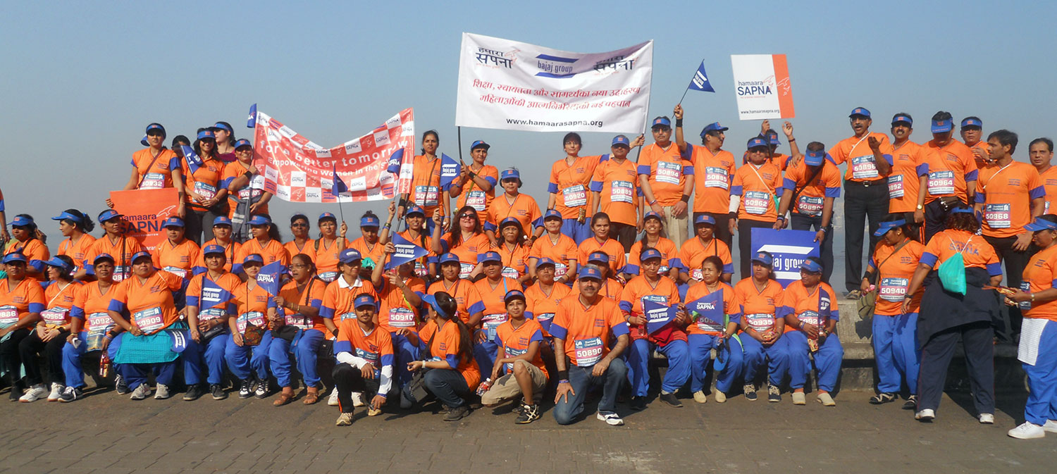 Mumbai Marathon participants holding the Banner of Hamaara Sapna (January, 2014)