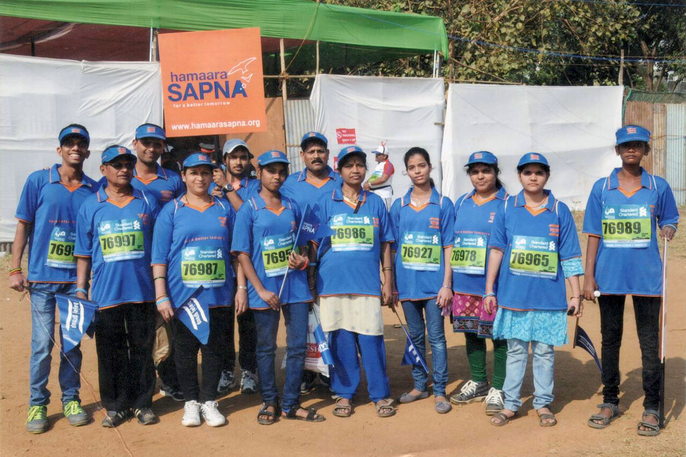 Staff and beneficiaries under the Hamaara Sapna Banner at the Mumbai Marathon (January, 2015)